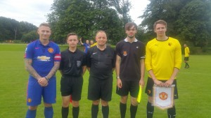 Captain Stu Nicholls lines up with his Manchester United counterpart
